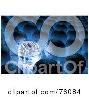 Royalty Free RF Clipart Illustration Of A 3d Blue Glowing Circuit In Rows Of Other Orbs