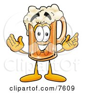 Beer Mug Mascot Cartoon Character With Welcoming Open Arms