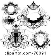 Royalty Free RF Clipart Illustration Of A Digital Collage Of Decorative Black And White Text Box Frames With Banners