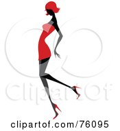 Royalty Free RF Clipart Illustration Of A Sexy Lady In Red Strutting In A Dress Version 4