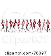 Royalty Free RF Clipart Illustration Of A Line Of Sexy Women Strutting In Red Dresses And Skirts