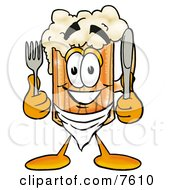 Clipart Picture Of A Beer Mug Mascot Cartoon Character Holding A Knife And Fork