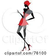 Royalty Free RF Clipart Illustration Of A Sexy Lady In Red Strutting In A Dress Version 3