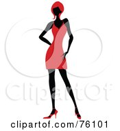 Sexy Lady In Red Strutting In A Dress - Version 8