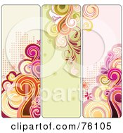 Royalty Free RF Clipart Illustration Of A Digital Collage Of Three Funky Retro Swirly Halftone Vertical Banners