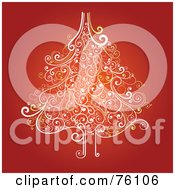 Royalty Free RF Clipart Illustration Of An Ornate White And Yellow Swirly Christmas Tree On Red by OnFocusMedia