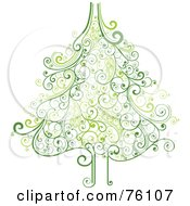 Royalty Free RF Clipart Illustration Of An Ornate Green Swirly Christmas Tree On White by OnFocusMedia