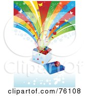 Royalty Free RF Clipart Illustration Of A Funky Christmas Background Of Butterflies And Fireworks Exploding From A Box Of Holly And Baubles by Eugene #COLLC76108-0054