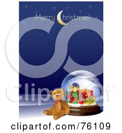 Royalty Free RF Clipart Illustration Of A Teddy Bear Leaning Against A Present Snow Globe With Merry Christmas Text On Blue by Eugene
