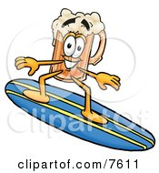 Clipart Picture Of A Beer Mug Mascot Cartoon Character Surfing On A Blue And Yellow Surfboard