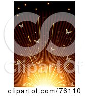 Royalty Free RF Clipart Illustration Of A Glowing Background Of Butterflies In A Sparkler by Eugene
