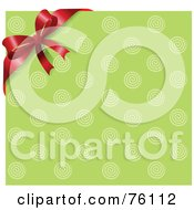 Royalty Free RF Clipart Illustration Of A Retro Green Circle Background With A Red Corner Ribbon And Bow