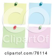 Royalty Free RF Clipart Illustration Of A Digital Collage Of Four Memos Pinned To A Wall Yellow Blue Green And Pink