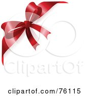 Royalty Free RF Clipart Illustration Of A White Background With A Red Ribbon And Bow Corner