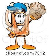 Clipart Picture Of A Beer Mug Mascot Cartoon Character Catching A Baseball With A Glove