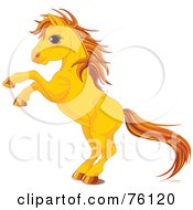 Royalty Free RF Clipart Illustration Of A Rearing Yellow Horse With Golden Hooves And Hair by Pushkin