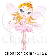 Royalty Free RF Clipart Illustration Of A Cute Blond Fairy Princess In A Tutu Holding Her Magic Wand by Pushkin