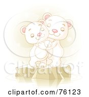 Royalty Free RF Clipart Illustration Of Two Adorable Polar Bears Hugging And Smiling On Ice by Pushkin