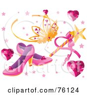 Royalty Free RF Clipart Illustration Of A Digital Collage Of Heart Gems A Tiara Magic Wand And Slippers by Pushkin