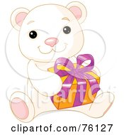 Royalty Free RF Clipart Illustration Of A Thoughtful Cute Polar Bear Holding A Present