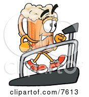 Clipart Picture Of A Beer Mug Mascot Cartoon Character Walking On A Treadmill In A Fitness Gym