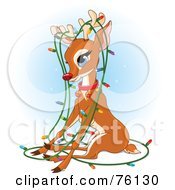 Royalty Free RF Clipart Illustration Of Rudolph Tangled In A Strand Of Christmas Lights by Pushkin