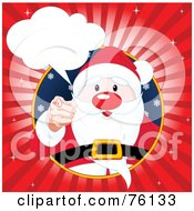 Santa In A Circle Pointing Outwards With A Word Bubble And Red Burst