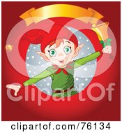Royalty Free RF Clipart Illustration Of A Christmas Elf Ringing A Bell In A Snow Circle On Red With A Blank Gold Banner