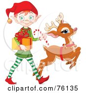 Royalty Free RF Clipart Illustration Of A Cute Christmas Elf And Rudolph Delivering A Present by Pushkin