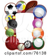 Royalty Free RF Clipart Illustration Of A Sports Ball Frame by BNP Design Studio