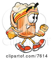 Clipart Picture Of A Beer Mug Mascot Cartoon Character Speed Walking Or Jogging