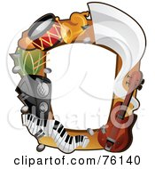 Royalty Free RF Clipart Illustration Of A Musical Instrument Frame