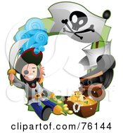 Royalty Free RF Clipart Illustration Of A Pirate Treasure Frame by BNP Design Studio