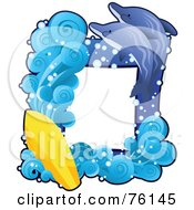 Royalty Free RF Clipart Illustration Of A Dolphin Surfing Frame by BNP Design Studio