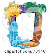 Royalty Free RF Clipart Illustration Of A Palm Tree Travel Frame