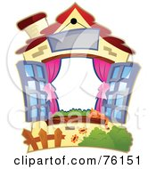 Royalty Free RF Clipart Illustration Of A Cute House With Shutters Frame by BNP Design Studio