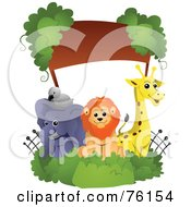 Royalty Free RF Clipart Illustration Of A Bird Elephant Lion And Giraffe Zoo Animal Frame by BNP Design Studio