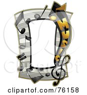 Royalty Free RF Clipart Illustration Of A Music Note Frame by BNP Design Studio