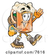 Clipart Picture Of A Beer Mug Mascot Cartoon Character Hiking And Carrying A Backpack by Toons4Biz