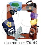 Royalty Free RF Clipart Illustration Of An Airline Travel Frame by BNP Design Studio