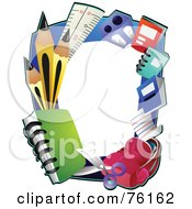 Royalty Free RF Clipart Illustration Of A School Item Frame