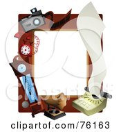 Royalty Free RF Clipart Illustration Of A Vintage Clock Music Camera Phone And Typewriter Frame by BNP Design Studio