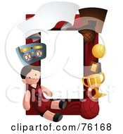 Royalty Free RF Clipart Illustration Of A Basketball Boy Frame by BNP Design Studio