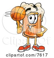 Clipart Picture Of A Beer Mug Mascot Cartoon Character Spinning A Basketball On His Finger