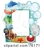 Royalty Free RF Clipart Illustration Of A Sea Underwater Frame by BNP Design Studio