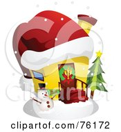 Royalty Free RF Clipart Illustration Of A Unique Christmas Home