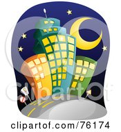 Royalty Free RF Clipart Illustration Of A Crescent Moon And Stars Over City Buildings