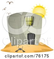 Royalty Free RF Clipart Illustration Of Birds Flying Over A Jail In A Desert Keys On The Sand by BNP Design Studio
