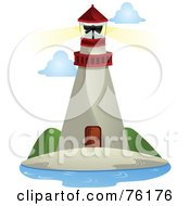 Royalty Free RF Clipart Illustration Of A Tall Beige And Red Lighthouse With A Shining Beacon