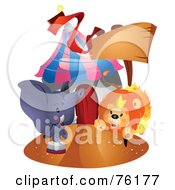 Royalty Free RF Clipart Illustration Of A Lion And Elephant Outside A Circus Tent by BNP Design Studio